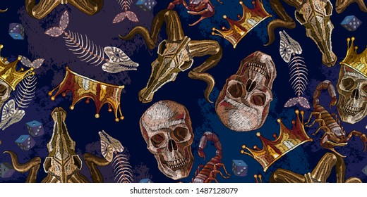 Embroidery golden crown, skulls, fish bones and bull head horizontal seamless pattern. Halloween art. Gothic medieval art template clothes, t-shirt design, print