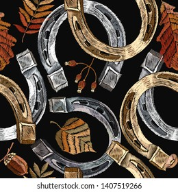 Embroidery golden and silver horseshoes and autumn leaves seamless pattern. Fashion art. Template for design of clothes, tapestry