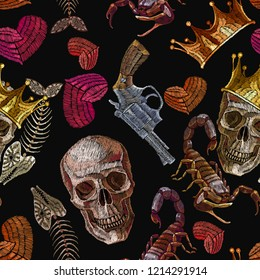 Embroidery gothic art, golden crown and skull, red heart, guns and scorpion seamless pattern. Dark art crime romanntic template and t-shirt design