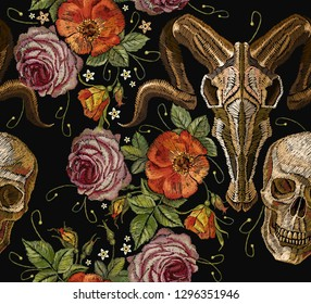 Embroidery gothic romanntic, bison buffalo skulls, human skull, red roses tribal seamless pattern, clothes t-shirt. Dia de muertos, day of the dead