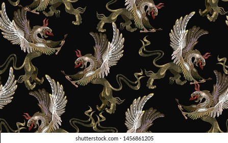 Embroidery griffin, medieval seamless pattern. Gothic tapestry renaissance style. Template for clothes, t-shirt design