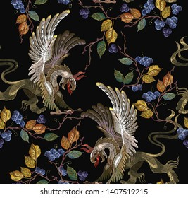 Embroidery griffins and black berries leaves seamless pattern. Medieval art. Template for clothes, t-shirt design.  Gothic template tapestry renaissance style