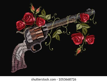 Embroidery guns and flowers roses. Template for clothes, textiles, t-shirt design. Classical embroidery revolvers and spring flowers roses. Symbol of romanticism and crime