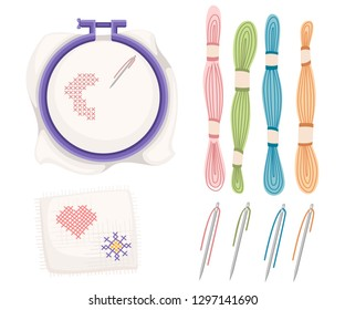 Embroidery hoop for cross-stitch sewing. Purple plastic hoop, stainless steel needle with colored threads. Handkerchief with heart and sun icon. Flat vector illustration isolated on white background.