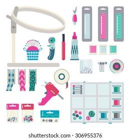 Embroidery hoops, threads, band, the glue gun, pins. Vector set.