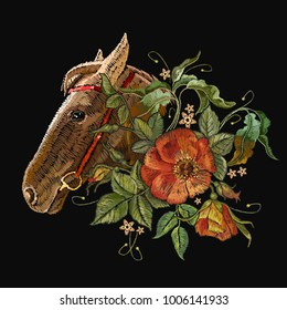 Embroidery horse head and wild roses, dogrose flowers. Fashionable template tapestry flowers renaissance. Classic style embroidery, horse and beautiful dogrose pattern vector