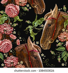 Embroidery horse head and wild roses seamless pattern, dogrose flowers. Fashionable template tapestry flowers renaissance. Classic style embroidery, horse and beautiful dogrose pattern