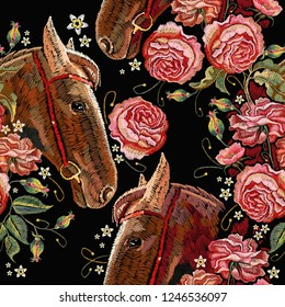 Embroidery horse head and wild roses seamless pattern, dogrose flowers. Template for clothes, t-shirt design