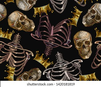 Embroidery human rib cage, golden crown and human skull seamless pattern. Gothic art. Template for clothes, t-shirt design