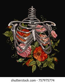 Embroidery human rib cage with red roses. Gothic embroidery skeleton ribs and flowers. Fashionable clothes, t-shirt design, beautiful flowers, renaissance style vector