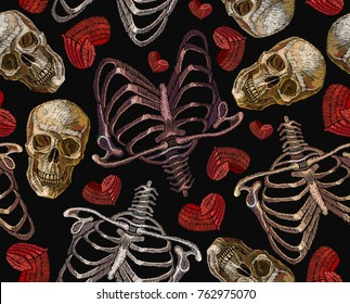 Embroidery human rib cage, red heart and human skull seamless pattern. Gothic love art, embroidery skeleton ribs and skull. Fashionable clothes, t-shirt design