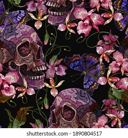 Embroidery human skull, butterflies and pink orchid flowers. Tropical seamless pattern. Medieval style. Fashion clothes template and t-shirt design. Dark gothic art