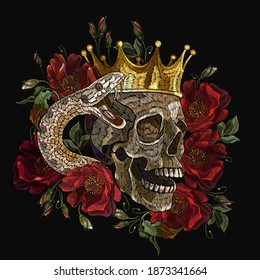 Embroidery human skull, golden crown, snake and red roses flowers. Medieval kings, fairy tale. Fashion clothes template and t-shirt design. Dark gothic halloween art
