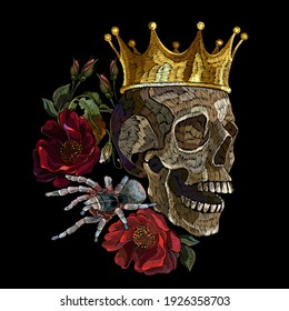 Embroidery human skull, golden crown, red roses flowers and spider. Halloween medieval style. Fashion clothes template and t-shirt design. Dark gothic art