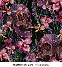 Embroidery human skull and pink orchid flowers. Seamless pattern. Halloween art. Medieval style. Fashion clothes template and t-shirt design. Dark gothic art