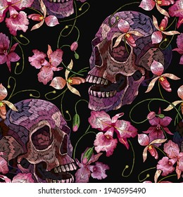 Embroidery human skull and pink orchid flowers. Halloween seamless pattern. Medieval style. Tropical background. Fashion clothes template and t-shirt design. Dark gothic art