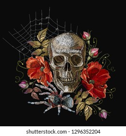 Embroidery human skull, red poppies and spider web. Fashionl dark art gothic embroidery. Medieval template for clothes, textiles, t-shirt design
