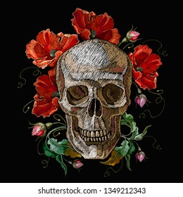 Embroidery human skull and red poppies flowers. Gothic embroidery. Medieval template for clothes, textiles, t-shirt design