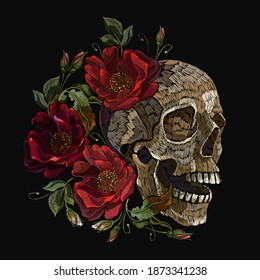 Embroidery human skull and red roses flowers. Halloween art. Medieval style. Fashion clothes template and t-shirt design. Dark gothic art