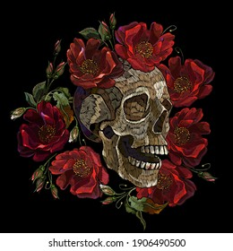 Embroidery human skull and red roses flowers. Fashion clothes template and t-shirt design. Dark gothic art. Halloween art. Medieval style