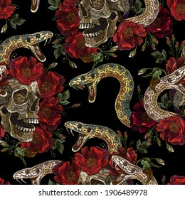 Embroidery human skull, snake and red roses flowers. Seamless pattern. Medieval kings, fairy tale. Fashion clothes template and t-shirt design. Dark gothic halloween art