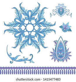 Embroidery imitation of traditional paisley elements.  Colored vector illustration.