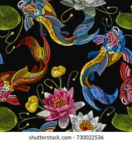 Embroidery koi fish and water lily seamless pattern, japanese pattern. Classical embroidery koi carp, pink and white lotuses and water lilies, template fashionable   clothes, t-shirt design