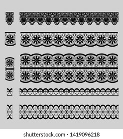 embroidery lace trim elements pattern brushes vector