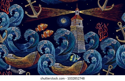 Embroidery lighthouse, anchor, boat, sea waves seamless pattern. Classical embroidery impressionism style lighthouse and storm in ocean seamless background