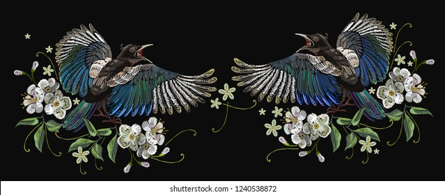 Embroidery magpie birds and cherry flowers. Template for clothes, textiles, t-shirt design