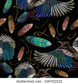 Embroidery magpie birds and feathers seamless pattern. Fashion template for clothes, textiles and t-shirt design