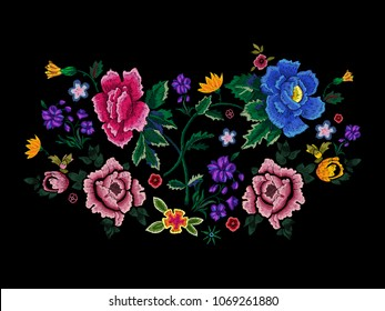 Embroidery motif pattern with simplify flowers. Vector embroidered floral patch for clothing design.