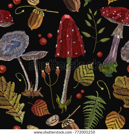 Embroidery Mushrooms Seamless Pattern Berries Autumn Stock Vector