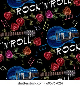 Embroidery music seamless pattern. Rock guitar and roses gothic art seamless background.  rock'n'roll slogan. Fashionable embroidery template vector for ladies, woman t shirt design