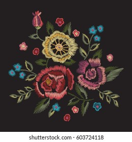 Embroidery native floral round pattern with simplified roses and forget me not flowers. Vector traditional easy ornament on black background for fashion design.