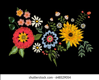 Embroidery native pattern with fantasy flowers. Vector embroidered traditional floral bouquet. Tribal style design for fashion wearing