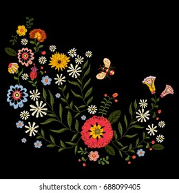 Embroidery native pattern with simplify flowers and bee. Vector embroidered traditional floral bouquet. Tribal style design for fashion wearing