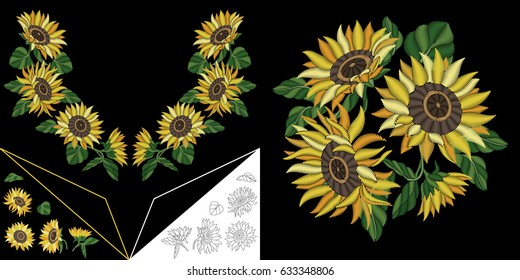 Embroidery neckline design. Collection of floral elements for dresses, collar t-shirts and blouses. Coloring outline drawing of sunflowers.