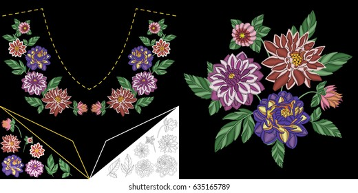 Embroidery neckline design. Collection of floral elements for dresses, collar t-shirts and blouses. Coloring outline drawing of dahlia flowers.