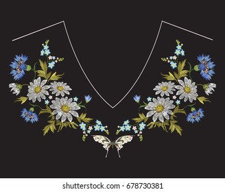Embroidery neckline floral pattern with chamomiles, cornflowers and butterfly. Vector embroidered folk flowers bouquet on black background for clothing design.