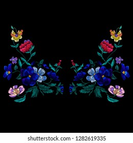 Embroidery neckline pattern with violet flowers. Vector embroidered floral design for fabric.