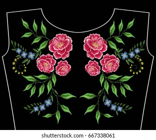 Embroidery neckline with summer flowers. Vector fashion embroidered floral ornament, fancywork pattern for textile, fabric traditional folk decoration.