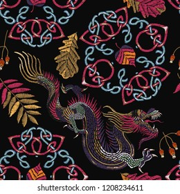 a8c14cee7 Embroidery northern dragons and celtic knots seamless pattern. Fall forest  art, fairy tale t