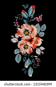 Embroidery orange. red poppy, butterfly ethnic ornament for the neck, bags, jeans, shirts, T-shirts.