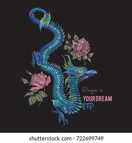 Embroidery oriental floral pattern with blue dragon and red roses. Vector ethnic folk embroidered template with flowers for fashion design and t shirt.