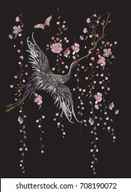 Embroidery oriental floral pattern with crane. Vector embroidered blank with bird for clothing design.