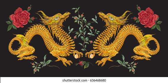 Embroidery oriental floral pattern with golden dragons and roses. Vector ethnic folk  embroidered template with flowers and animals on black background for fashion design