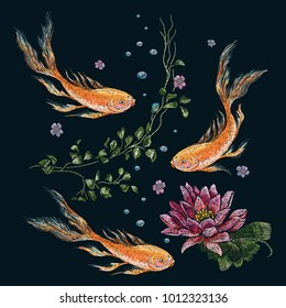 Embroidery oriental pattern with gold koi fish and water lily. Vector embroidered floral patch for clothing design