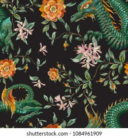 Embroidery oriental seamless pattern with dragons and roses. Vector embroidered floral patch with flowers and animal for clothing design.