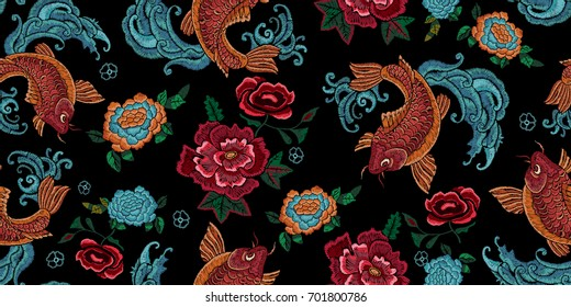 Embroidery oriental seamless pattern with golden carps and flowers. Vector embroidered floral design with fish for fabric.
